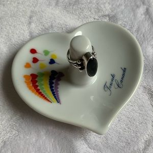 Vintage Rainbow Heart Balloon ring dish